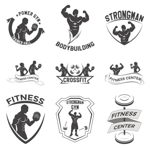 Fitness-Embleme, Icon-design – Vektorgrafik