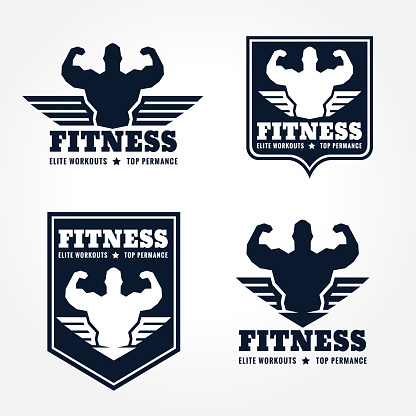 fitness  emblems in retro style graphic design (wings and muscle blue-black tone)