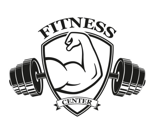 fitness emblems, muscle armss, power icon. designed elements - stock vector - personal trainer stock illustrations, clip art, cartoons, & icons