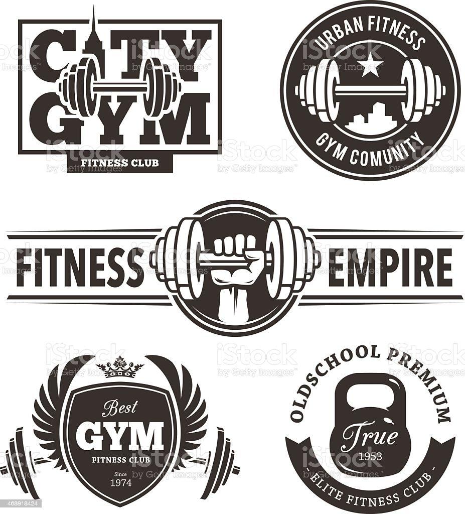 Fitness Emblems Set vector art illustration