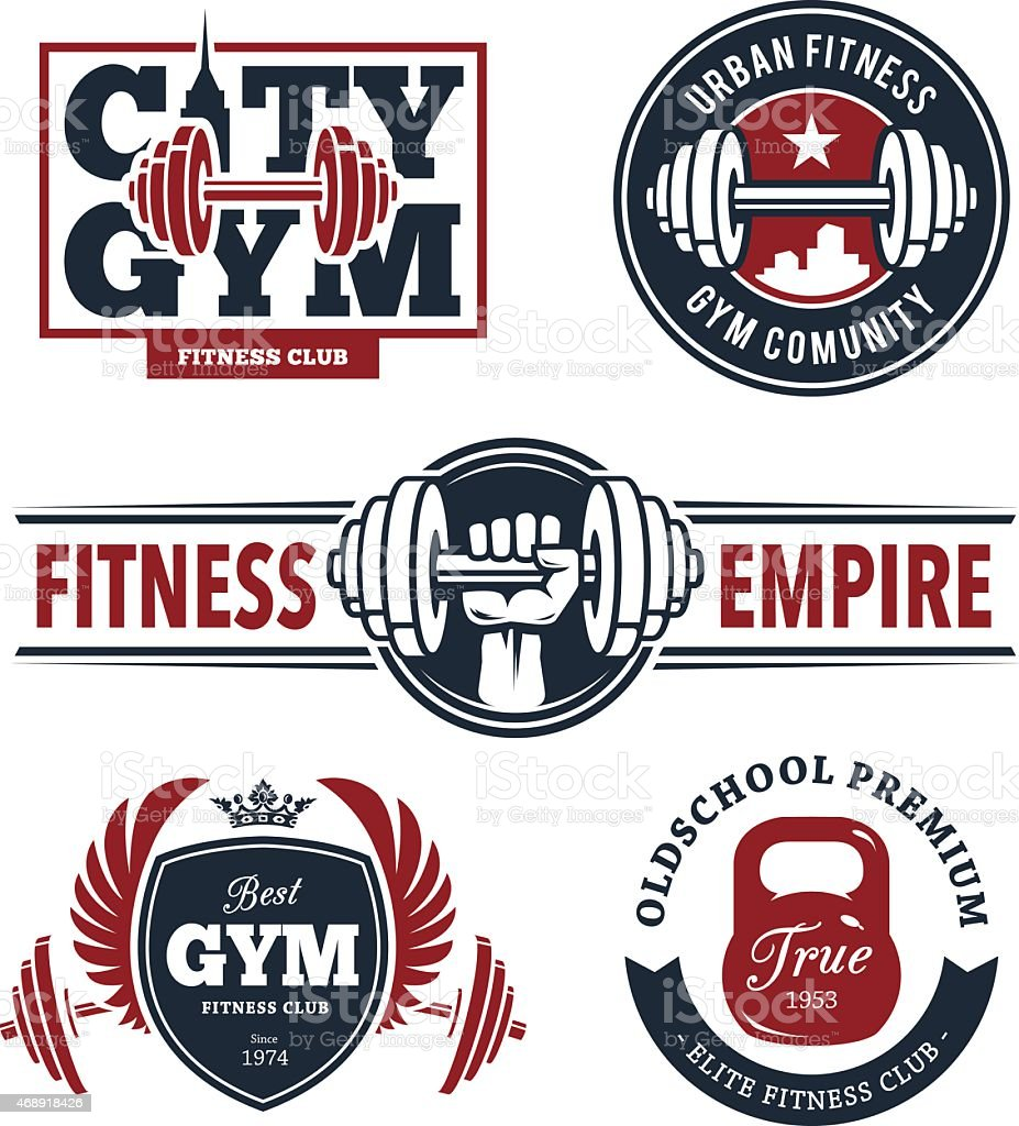 Fitness Emblems Set vector art illustration