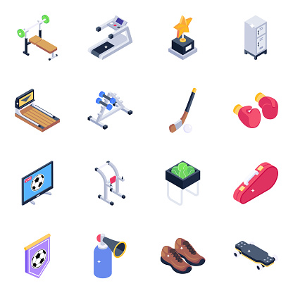 Fitness Equipment and Sports Tools Isometric Icons