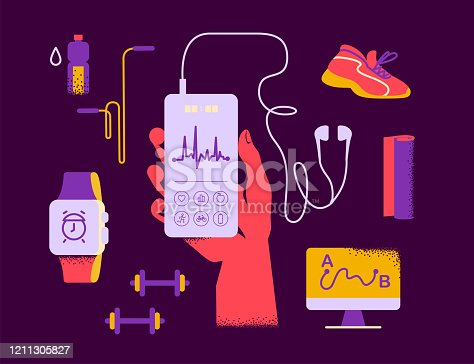 Fitness equipment – sport outfit, hand hold smartphone with fitness app interface, earphones, smart watch, yoga mat, water bottle, footwear etc. Vector flat illustration. Healthy lifestyle concept.