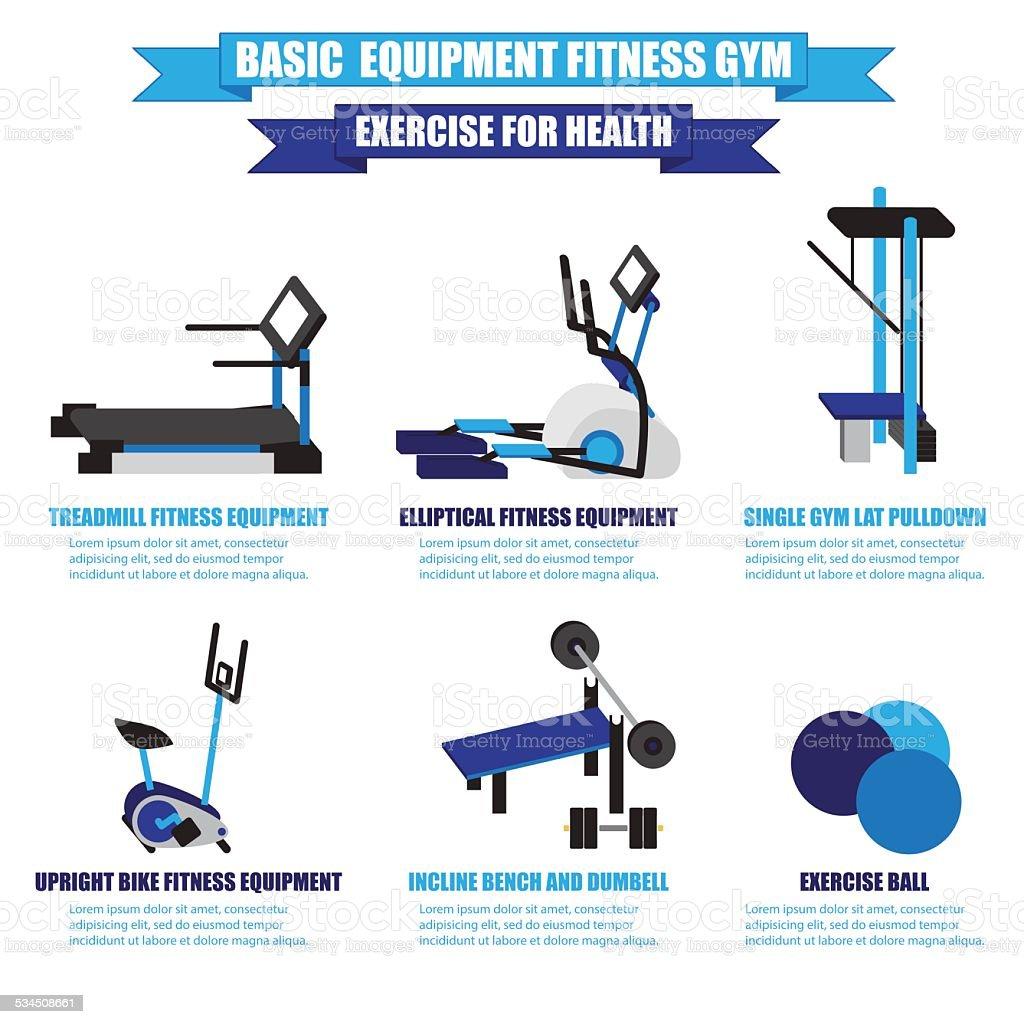 Fitness Equipment vector set vector art illustration