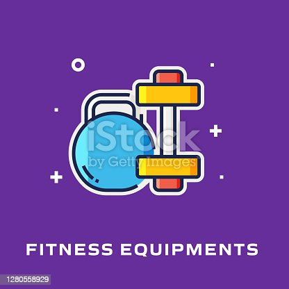 istock Fitness Equipments Flat Style Line Icon, Outline Vector Symbol Illustration. 1280558929