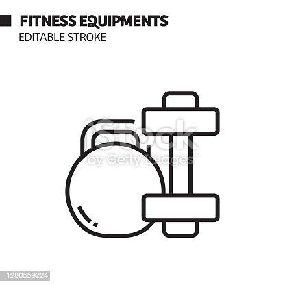 istock Fitness Equipments Line Icon, Outline Vector Symbol Illustration. 1280559224