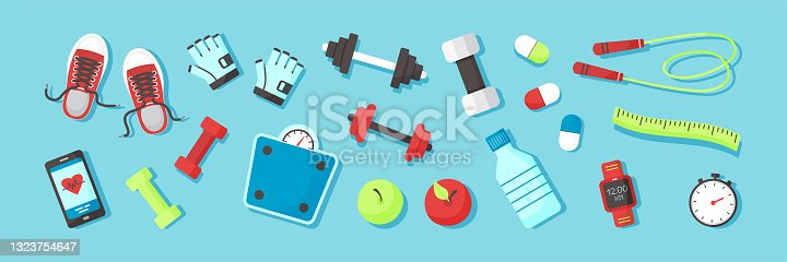 istock Fitness equipments Sport accessories Gym things Stuff for training. Top view. Diet and healthy lifestyle. Vector 1323754647