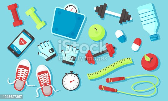 istock Fitness equipments Sport accessories Gym things Stufff for training. Top view. Diet and healthy lifestyle. Vector 1218627367