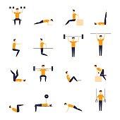 Fitness exercise and equipment for men sport, exercise, health, fitness.