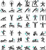 Fitness exercise workout icons set. Vector illustrations.