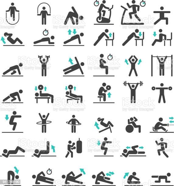 Fitness exercise workout icons set vector illustrations vector id941289190?b=1&k=6&m=941289190&s=612x612&h=2 jpta8mrlwbc0wqcgvpcyg1vy3fgx8n9ftmdvo3mp0=
