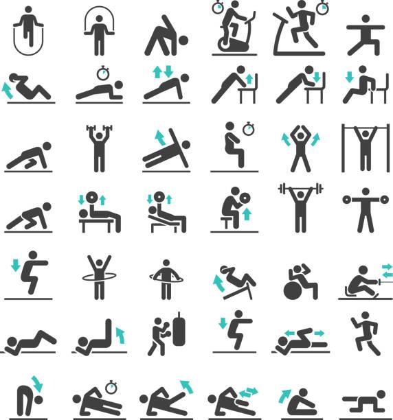 ilustrações, clipart, desenhos animados e ícones de conjunto de ícones de treino de exercício fitness. ilustrações vetoriais. - comodidades para lazer
