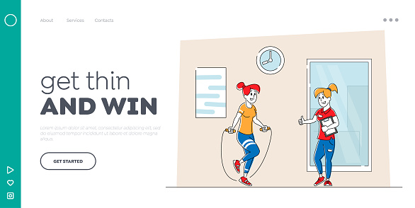 Fitness Exercises, Sport Activity, Healthy Lifestyle Landing Page Template. Sportswoman Training in Gym with Coach Jumping with Jump Rope. Female Character Workout. Linear People Vector Illustration