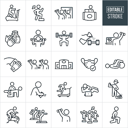A set of fitness facility and disinfecting icons that include editable strokes or outlines using the EPS vector file. The icons include a person using an elliptical machine, fitness center, customer doing aerobics to music, people doing aerobics in an aerobics class, person lifting weights in mirror, front desk receptionist, hands sanitizing, personal trainer working with client to lift weights, person deadlifting weights, spray bottle sanitizing weights, person taking part in a virtual exercise class on the computer, hand cleaning, two people lifting weights while social distancing, face mask, person cleaning surfaces of gym, customer running on treadmill, janitor mopping gym floor, person using exercise bike, a class doing yoga, person lifting weights, a person doing lunges and other related icons.
