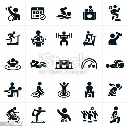An icon set of people exercising at a fitness facility. The icons include weight lifting, cardio, swimming, running, aerobics, running on treadmill, a personal trainer, elliptical machine, sauna, sit-ups, jump roping, goals, kettle bell, massage, spin bike and yoga to name a few.