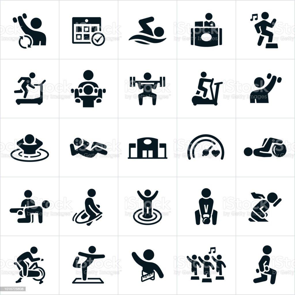 Iconos de instalación de fitness - ilustración de arte vectorial