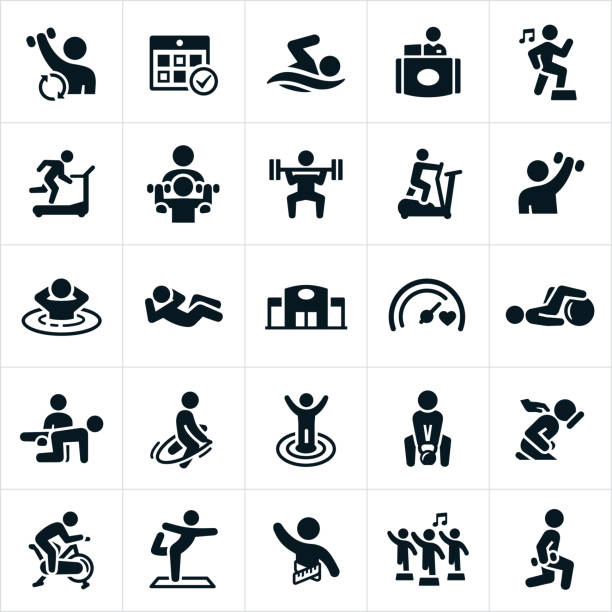 Fitness Facility Icons An icon set of people exercising at a fitness facility. The icons include weight lifting, cardio, swimming, running, aerobics, running on treadmill, a personal trainer, elliptical machine, sauna, sit-ups, jump roping, goals, kettle bell, massage, spin bike and yoga to name a few. physical therapy stock illustrations