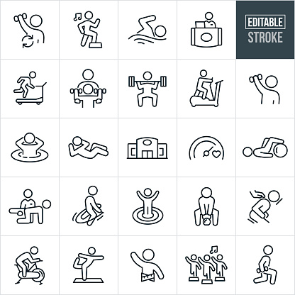 A set of fitness facility icons that include editable strokes or outlines using the EPS vector file. The icons include a person lifting weights, person doing aerobics to music, person swimming, fitness facility staff, customer running on treadmill, personal trainer, person deadlifting, person on elliptical trainer, person in spa, person doing sit-ups, fitness facility, goal, person training, physical exercise, jump roping, person using kettle bell, message, person on exercise bike, person doing yoga, person with tape measure around waist, aerobics class and a person doing lunges while holding a dumbbell to name a few.