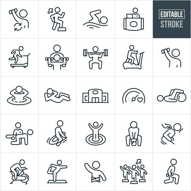 Fitness Facility Thin Line Icons - Ediatable Stroke vector art illustration