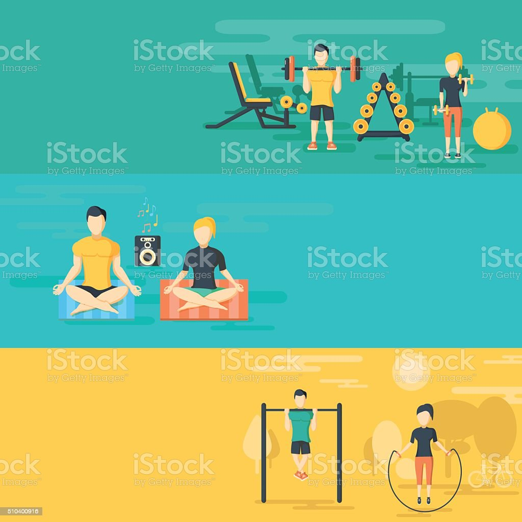 Fitness flat horizontal banners set vector art illustration