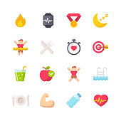 istock Fitness Flat Icons. Material Design Icons. Pixel Perfect. For Mobile and Web. Contains such icons as Fitness, Exercising, Healthy Lifestyle, Healthy Diet, Running, Heartbeat, Apple, Sleep, Gym. 1159354949