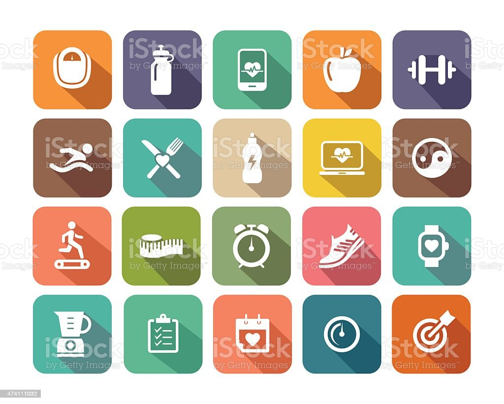 Fitness flat icons set for Web and Mobile Applications vector art illustration
