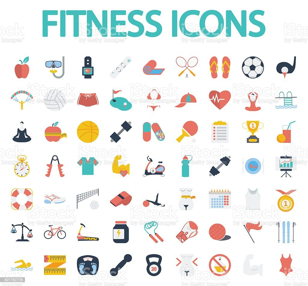 Fitness flat icons with long shadow for your website. vector art illustration