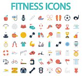 Fitness flat icons with long shadow for your website. Vector