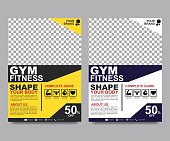 Fitness flyer template. Poster template for fitness center. Modern fitness and gym brochure collection for business