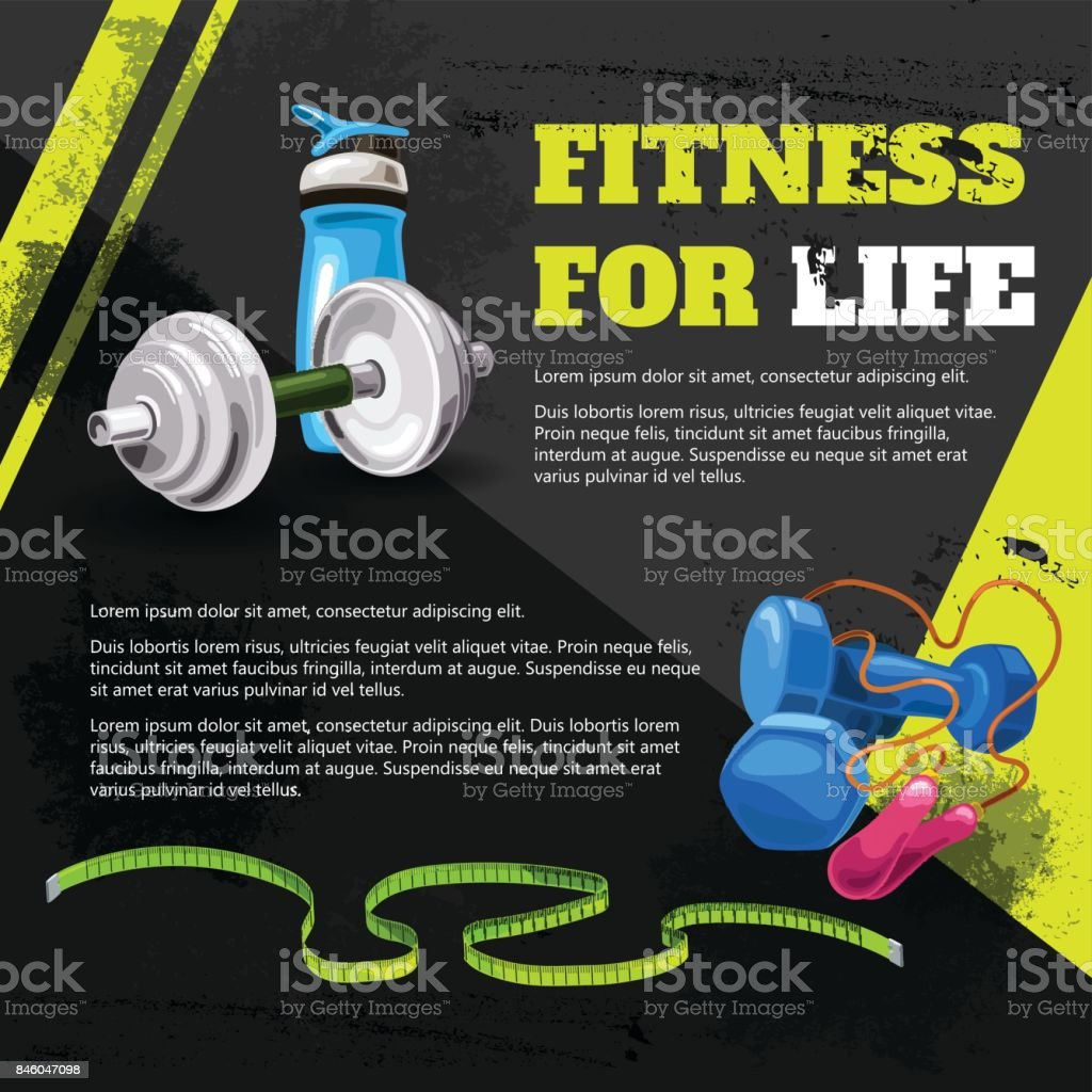 Fitness for life vector art illustration