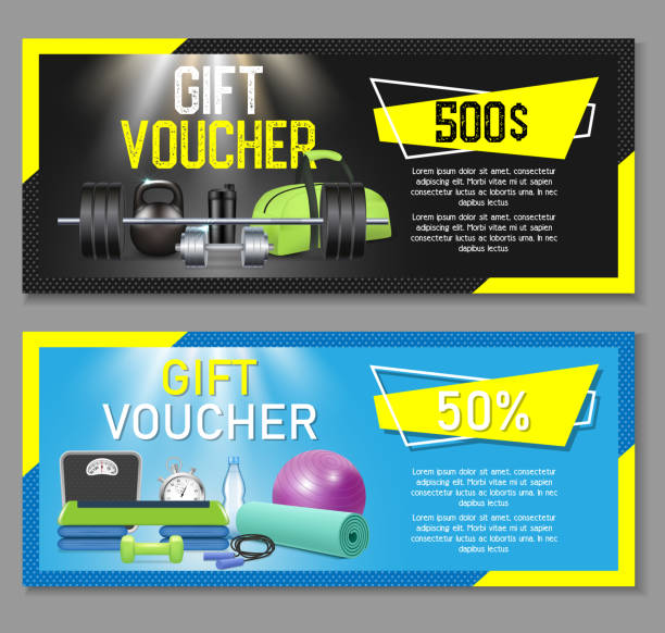 fitness gift voucher vector template set - personal trainer stock illustrations, clip art, cartoons, & icons