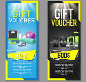 Fitness gift voucher template set. Vector illustration. Gift certificate, discount coupon, voucher mockup set for gym, fitness club or center. Fitness business promo offer cards.
