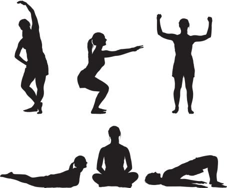 Fitness girl doing yoga silhouette