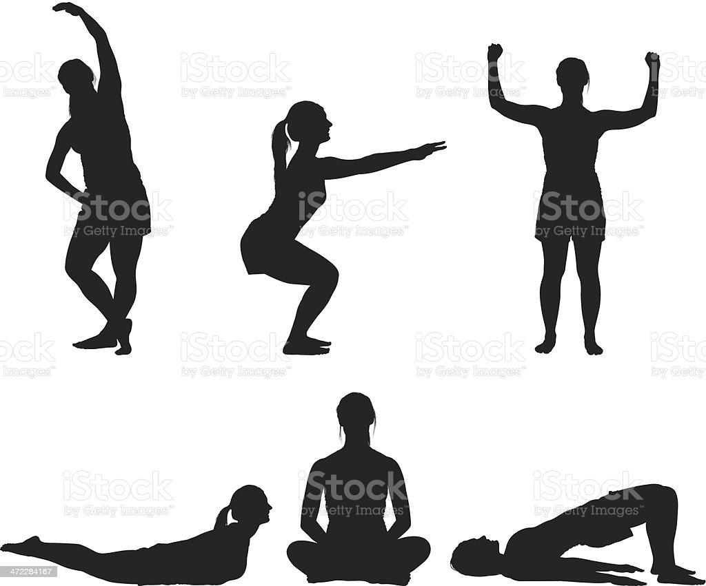 Fitness girl doing yoga silhouette vector art illustration