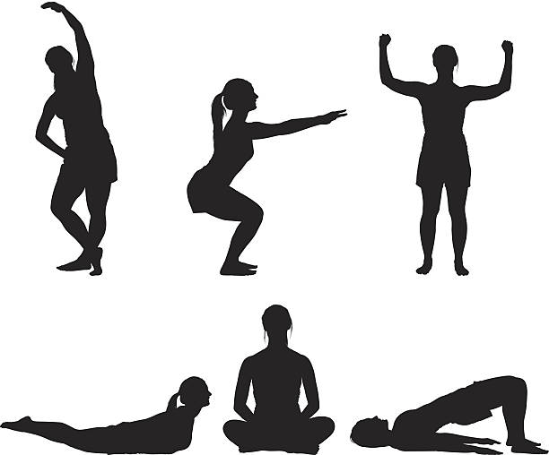 stockillustraties, clipart, cartoons en iconen met fitness girl doing yoga silhouette - buigen lichaamsbeweging