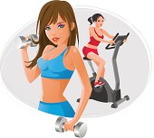 Illustration of a 2 young women exercises using dumbbells and exercise bike.