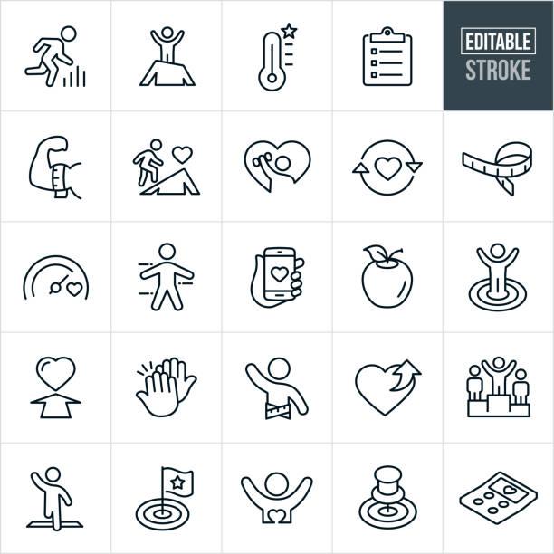 fitness-ziele dünne linie icons - ediatable schlaganfall - wellness stock-grafiken, -clipart, -cartoons und -symbole