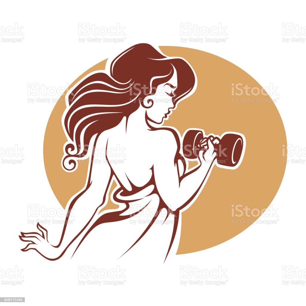 fitness goddess vector art illustration