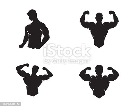 Bodybuilder graphic Template. Vector object and Icons for Sport Label, Gym Badge, Fitness graphic Design