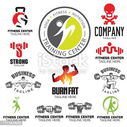 Fitness Gym and Yoga theme. set