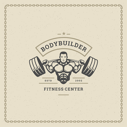 Fitness gym badge or emblem vector illustration bodybuilder man lifting a heavy barbell silhouette