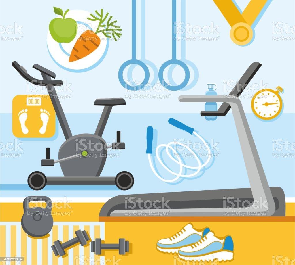 Fitness, gym, colored, flat illustration. vector art illustration