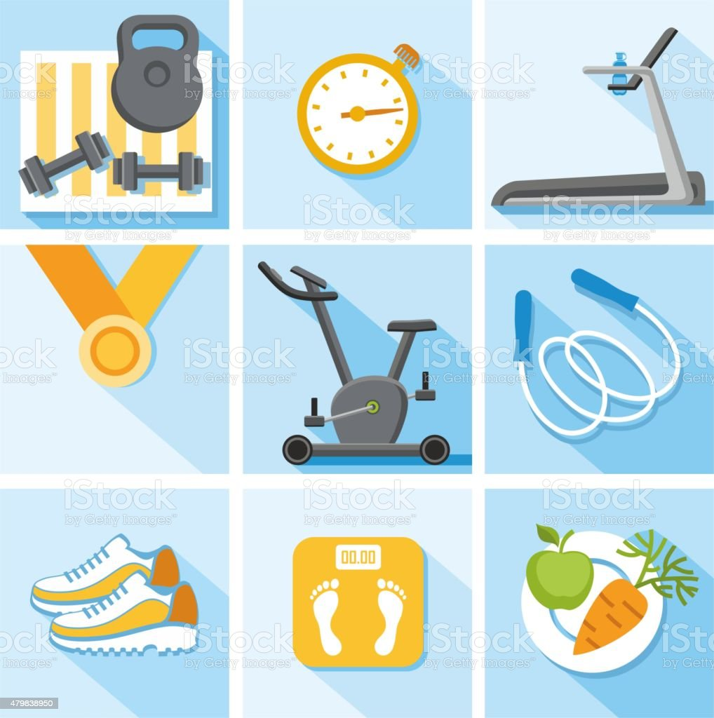 Fitness, gym, healthy lifestyle, colored, flat, illustration, icons. vector art illustration