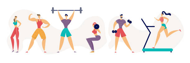 Fitness Gym Healthy Lifestyle Concept with Athletic People Characters Using Fitness Equipment. Sport Set Banner Gymnastics Workout Sit-up, Run Exercises. Flat Vector Illustration Fitness Gym Healthy Lifestyle Concept with Athletic People Characters Using Fitness Equipment. Sport Set Banner Gymnastics Workout Sit-up, Run Exercises. Flat Vector Illustration active lifestyle stock illustrations