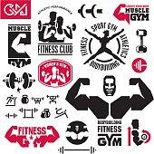 Bodybuilding fitness gym icons set