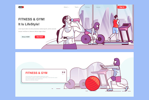 Fitness gym landing pages set. Sports club, workout and training space corporate website. Flat line vector illustration with people characters