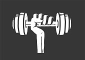 istock Fitness gym logo element idea vintage retro style vector illustration, dumbbell weight in hand icon isolated black and white print clipart modern design 1264068432