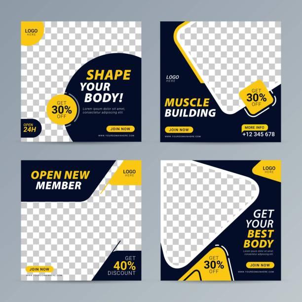 ilustraciones, imágenes clip art, dibujos animados e iconos de stock de gimnasio de la red social post plantilla de banner cuadrado para el estudio de fitness - entrenador personal