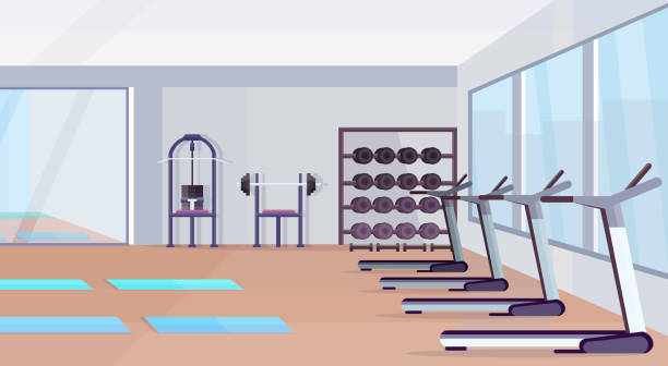 fitness hall studio workout equipment healthy lifestyle concept empty no people gym interior with mats training apparatus dumbbells mirror and windows horizontal fitness hall studio workout equipment healthy lifestyle concept empty no people gym interior with mats training apparatus dumbbells mirror and windows horizontal vector illustration exercise machine stock illustrations