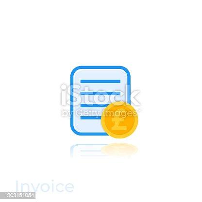 Invoice icon with pound on white